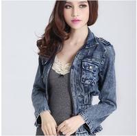 2014 new Autumn  long-sleeved Slim  denim jacket women