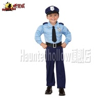 Boy Police Officer Cop Blue Uniform fancy Dress Childrens Halloween Costume age 4-10