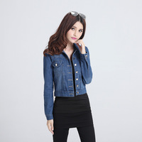 2014 autumn Korean version of the new women's denim jacket lapel