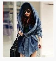 2014 new fashion women long-sleeved denim waist denim coat