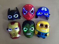 kids costume party  mask The Hulk Captain America Batman Spiderman Ironman LED Glowing  Mask boy Birthday gift  Halloween masks
