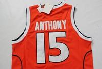 Free Shipping S-2XL 2014 Carmelo Anthony SYRACUSE Jersey, Syracuse #15 Carmelo Anthony Jersey Brand Embroidered Logo- Orange