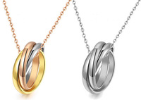 Gold / Silver 2014 Fashion three circle Necklace Pendant Stainless steel For Girlfriends Gifts
