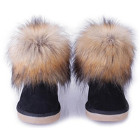 Genuine Leather New Women High Fur Snow Boots lady australia boots warm winter Shoes motorcycle free shipping