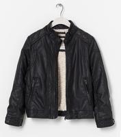 Y085 New 2014 Winter Brands Za Boy Leather Jacket Black Solid Zipper Boys Outerwear Coats Boys Clothing