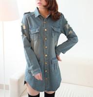 2014 new women's Autumn  Slim long sections lapel pocket denim dress