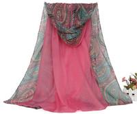 Oumeina Fashion Accessory Woman Scarf: voile fabric printed Half cashew,Half plain dyed Muslim Arabic hijab shawl warp WJ135
