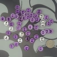 Free Shipping 1000 Purple 11mm Sunflower Rhinestone Plastic Bead Craft Baby shower Scrapbooking