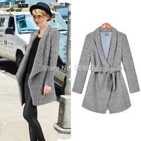 2014 women's autumn elegant turn-down collar slim waist long-sleeve woolen outerwear with belt coat european style