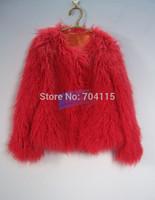 faux  wool fur o-neck short  fur coat watermelon red