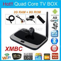 Newest M9 Android 4.4 Quad Core RK3188 2G/8G Smart TV Box w/ Camera Bluetooth HDMI WIFI 1080P XBMC Tv Stick + IR Remote Control
