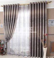 C059 free shipping gray flowers pastoral window blackout jacquard curtain and tulle sheer curtains 100*250cm