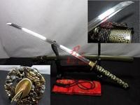 Battle ready Clay tempered folded steel blade dragon tsuba katana sword sharpened