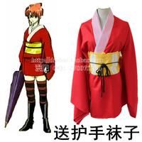 Gintama Silver Soul Kagura Kimono Anime Cosplay Costume Red Uniform Short Dress