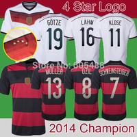 Top A+++ 2014 World Cup Golden Winner Patch Champion Jersey 4 Star Logo Soccer Jerseys GOTZE KLOSE LAHM OZIL MULLER Fans