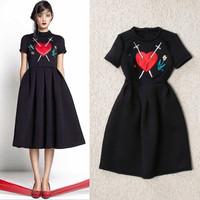 Women Black Embroidery dress cheap plus size women dresses new fashion 2014 summer runway dress