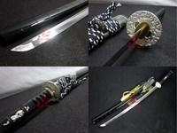 Clay Tempered T10 steel blade Japanese katana sword silver wave tsuba sharpened battle ready