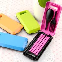 Magic fashion portable tableware folding spork chopsticks set color block set piece Dinnerware Sets