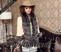 2014 full leather fur rex rabbit hair fur coat fox fur slim