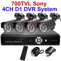 4CH 1080P CCTV System DVR System 700tvl SONY CCD outdoor camera + 4CH Full D1 1080P 4Audio 4Video CCTV DVR RS485 VGA HDMI