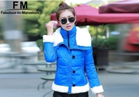 White Fur Collar Jacket Casual Winter Jacket Women Coat 2014 New Brand Fashion New Arrival 2014 Clothing Down & Parkas AW14J012