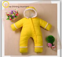 retail  2014 winter  baby  Newborn baby warm down romper,baby boys and girls winter one piece infant hoodie down jumpsuit