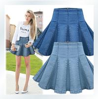 2014 new autumn saias femininas XXL loose European female denim skirts jeans midi Pleated skirt for women work wear saia jeans