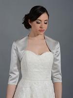 2014 New Simple Fashion 3/4 Sleeves Elegant Satin Wedding Bolero Jacket Bridal Wraps-- 6 colors for choose