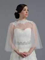 New Fashion Cheap Custom Made Tulles Lace bolero Wraps Bridal Shrugs