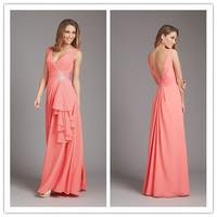 New Arrival V-neck Sleeveless Empire Waist Beading Floor Length Chiffon Cheap Bridesmaid Dress
