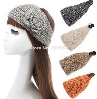 Knitted camellia flowers headband fall winter crochet ear warmer women hair band 6 colors