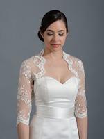New Arrival 3/4 sleeves Bridal bolero Lace Wedding Jacket Bridal Wraps