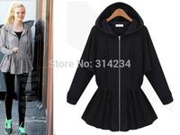 2014 New Latest lulu Hoodie Sports Sweatshirt Autumn Fashion slim Women black Grey flounced S to XL female Casual coat 8217
