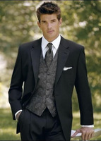 Free shipping / cheapest models made black notch lapel male groom groomsmen wedding dress clothes, men wear dress and groom