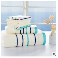 Free shipping, high quality environmental protection bamboo fiber towels towels combination suit, striped beach towel