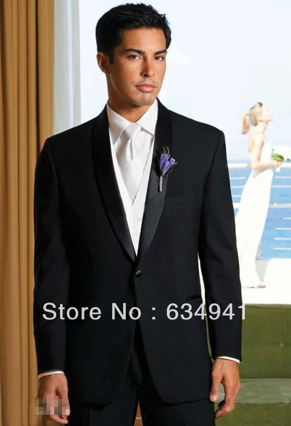 Free shipping ! Custom wedding groomsmen best cheap men's suits / dresses Groom / new design style of the groom wore a black tux(China (Mainland))