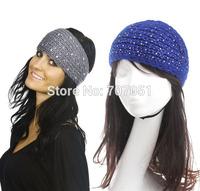 Retail 9 Colors Women Full Shiny Crystal Knit Crochet Headband hairband Winter Ear Warmer Head-wrap Big size