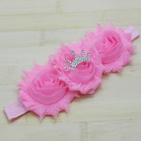 2014 Chic Triple chiffon Shabby Flower Headbands Baby Crown Headbands kids Newborn hair accessories 180pcs/lot free shipping