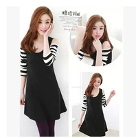 Dresses 2014 autumn stripe patchwork strapless one-piece dress female fashion small sexy long-sleeve short skirt