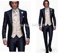 Morning style dark blue dress and groom groomsmen a key man best man wedding suit lapel Peak