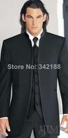 Hot black dress and groom / groomsmen stand collar suit / wedding best man wedding men's suit / suits groom / bride cheap tuxedo