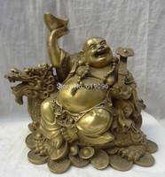 "12""China Pure Brass YuanBao RuYi Maitreya Buddha Ride Dragon Turtle Statue"