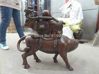 """32"""" China Buddhism Bronze Happy Laughing Maitreya Buddha Ride Bull Ox Statue"""