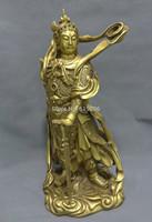 "18"" China Pure Brass Lion Head Guard Wei Tuo Skanda God Statue"