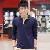 2014 hot stand collar tees men t-shirts pure color Button placket leisure fashion men warm cloths size M-XL(LT0122)