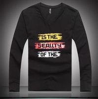 Top fashion,men V-neck t-shirts 2014 new arrival man tees fashion letters printing fall winter size L-XL(LT0120)
