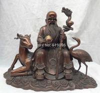 "15"" China Pure Bronze Dragon Head Peach Longevity God On Deer Crane Statue"