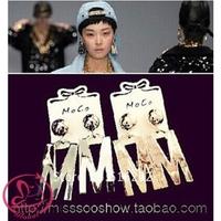 brincos 2014 new brand vintage earrings punk Exaggeration big letter M dangle earrings for women 2014 Silver Gold long earrings