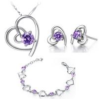 925 Sterling Silver Crystal Bridal Jewelry Sets Purple CZ Diamonds Heart Necklace Set Joias Casamento Brand Wholesale Ulove T508