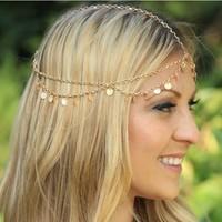Bohemian Women's Circle Drop Head Chain Jewelry Forehead Dance Headpiece Hair Band